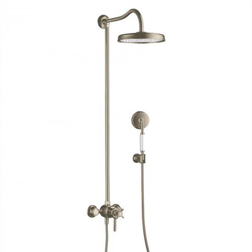 AXOR Montreux Showerpipe with thermostat and 1jet overhead shower brushed nickel