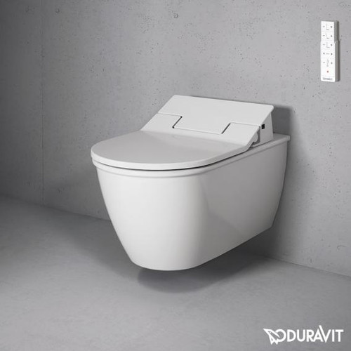 Duravit Darling New wall-mounted washdown toilet for SensoWash®, extended version white, with WonderGliss 25445900001