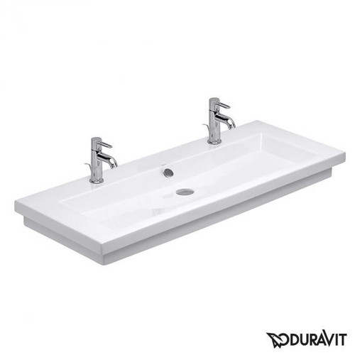 Duravit 2nd floor double washbasin white, with WonderGliss, with 2 tap holes, grounded, white interior
