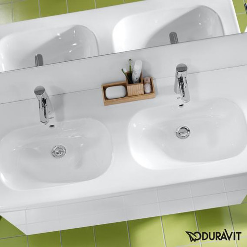Duravit D-Code double washbasin white, with 2 tap holes 03481200002