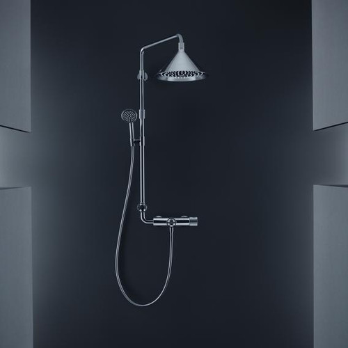 AXOR Showerpipe with thermostat and 2jet overhead shower designed by Front