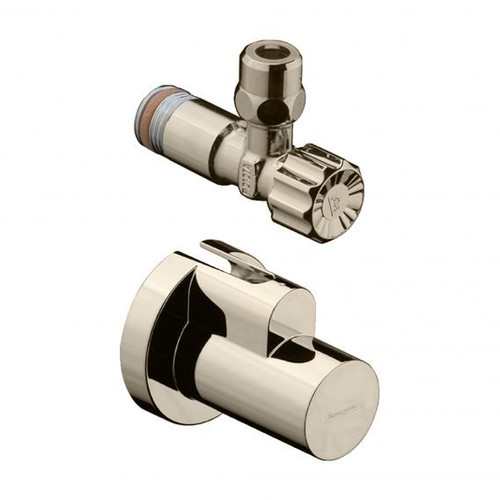 """Hansgrohe angle valve 1/2"""" x 3/8"""", with and cover brushed nickel"""