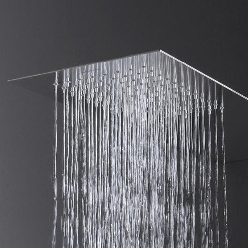 antoniolupi LASTRA overhead shower, wall-mounted polished stainless steel LASTRALU