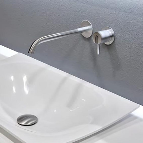 antoniolupi AYATI basin wall spout projection: 250 mm, satin stainless steel