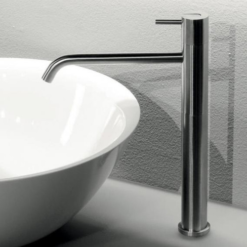 antoniolupi AYATI single handle basin mixer satin stainless steel