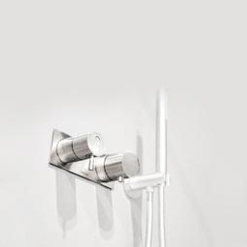 antoniolupi AYATI concealed, single handle shower mixer with diverter with trim plate satin stainless steel