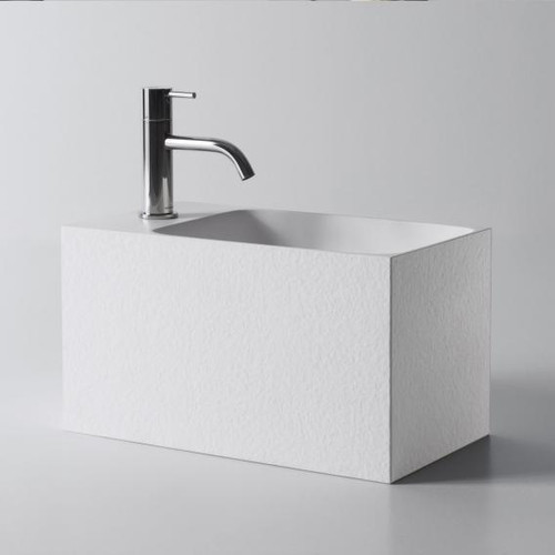 antoniolupi CALCO hand washbasin textured white, with 1 tap hole right, without overflow CALCO#CTEXTURE#1