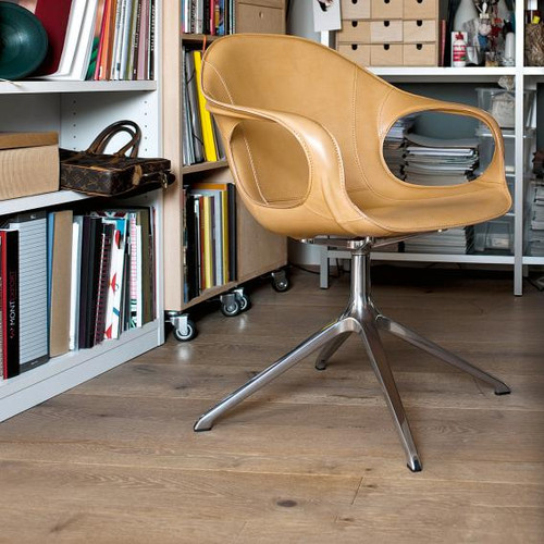 Kristalia Elephant armchair on stand, full-grain hide leather 05ELE71#Alu.glanz/F1