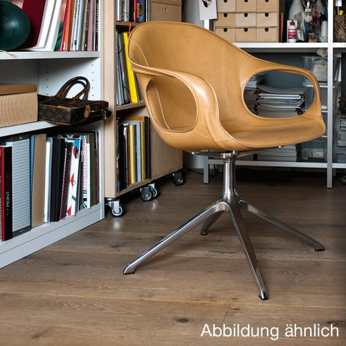 Kristalia Elephant armchair on stand, full-grain hide leather 05ELE71#Alu.glanz/F2
