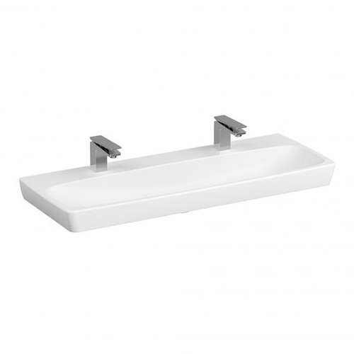 VitrA Metropole double washbasin white, with VitrAclean, grounded, without overflow