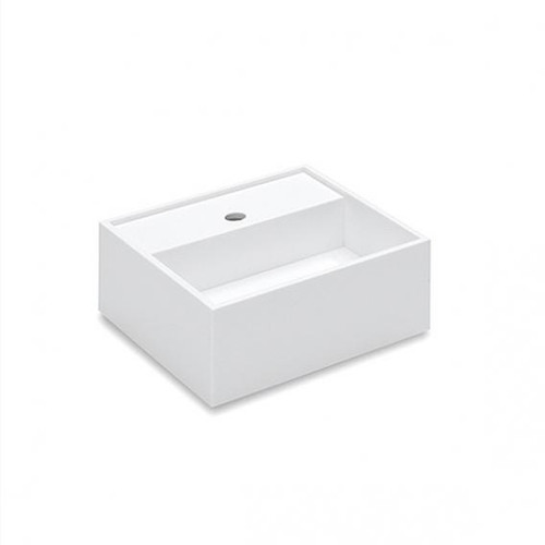 Cosmic Compact washbasin on the left with storage space on the side, W: 40 D: 20 cm white, with 1 tap hole