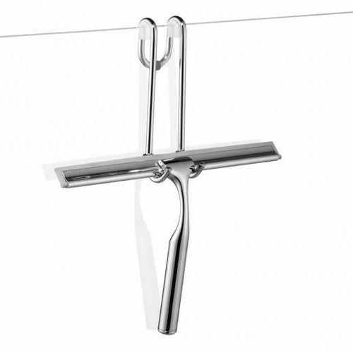 Giese hook with squeegee for glass shower panels