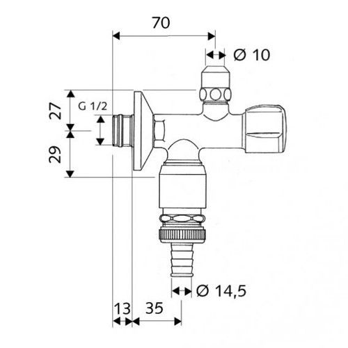 Schell double angle valve COMFORT with anti-vacuum device 038410699