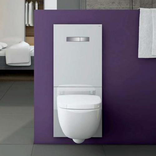 TECE lux glass toilet flush plate with manual actuation white/chrome 9650001