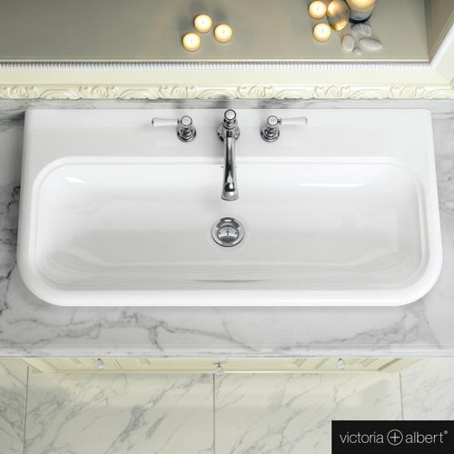 Victoria + Albert Lario 100 Solo drop-in washbasin white, with 3 tap holes DB-LAR-3TH-100-IO