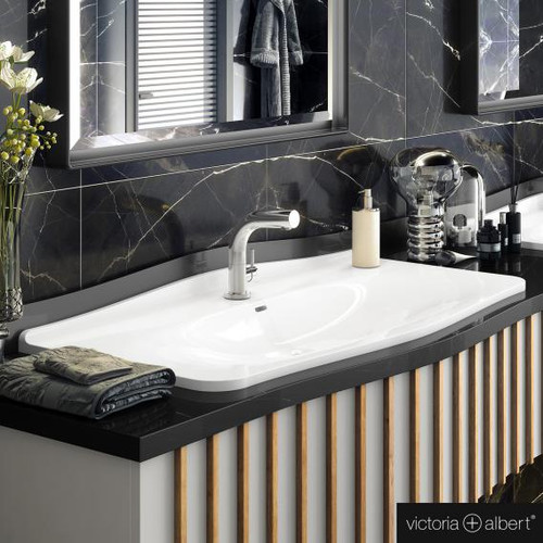 Victoria + Albert Mandello 114 Solo drop-in washbasin white, with 1 tap hole DB-MAN-1TH-114-IO