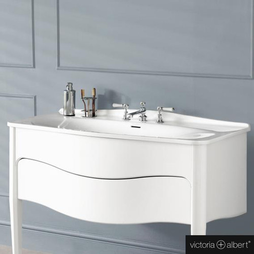 Victoria + Albert Mandello 114 Solo drop-in washbasin white, with 3 tap holes DB-MAN-3TH-114-IO
