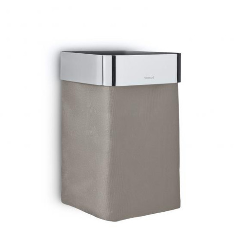 Blomus NEXIO guest towel basket polished stainless steel/taupe 68978