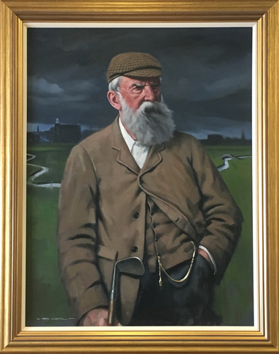 """Old Tom Morris"" original oil painting, at Prestwick Golf Club, Scotland"