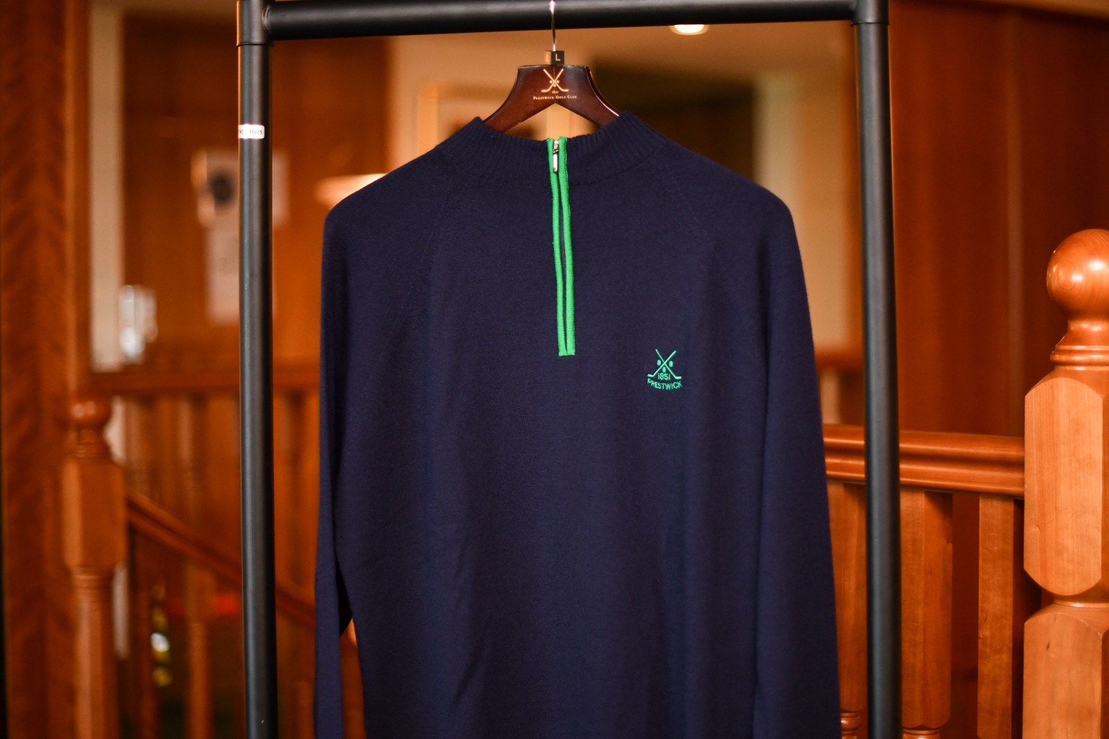 Glenbrae Merino Contrast Zip Neck - Navy/Green (40% OFF)