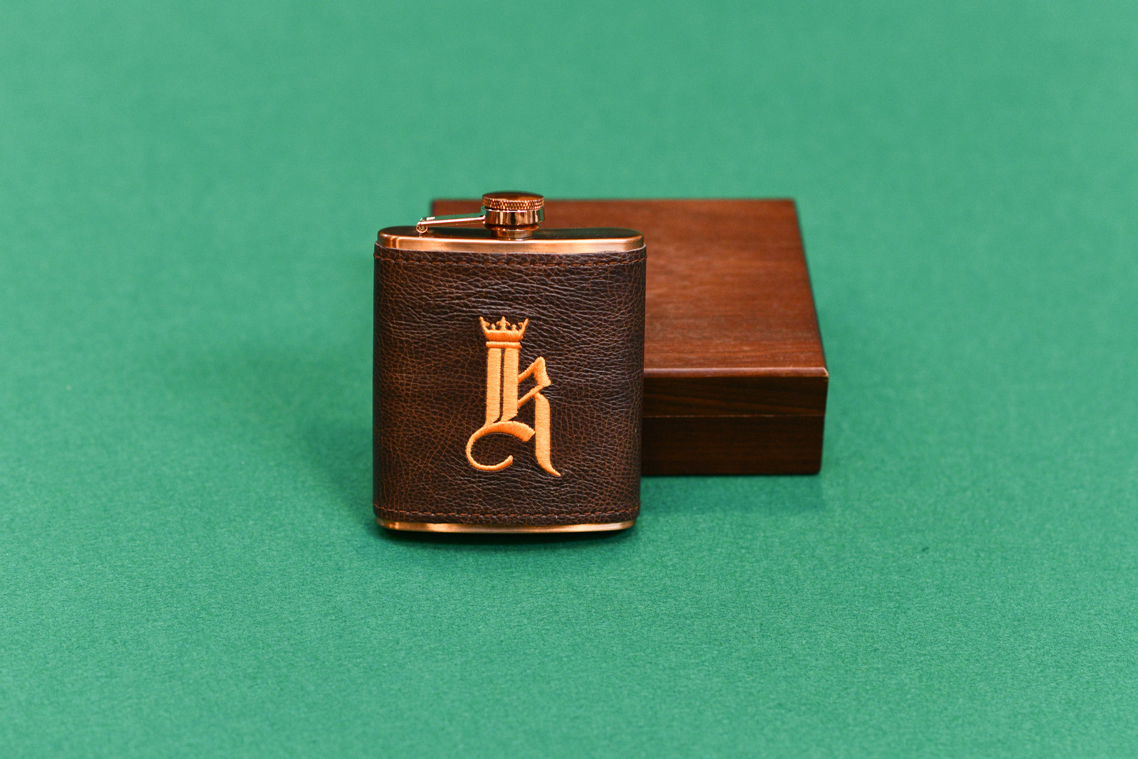 Links and Kings Leather Copper Hip Flask
