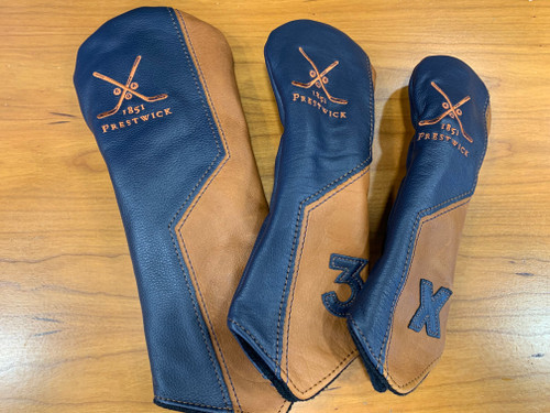 Prestwick Leather Headcover - Brown/Navy