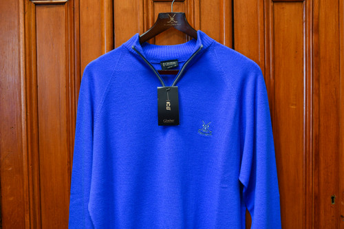 Glenbrae Merino Wool Contrast Zip Neck - Royal Blue