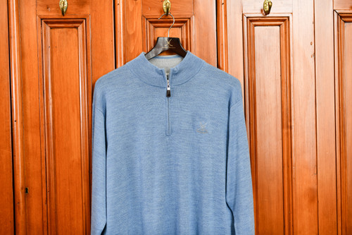 Peter Millar Merino 1/4 Zip Sweater - Blue