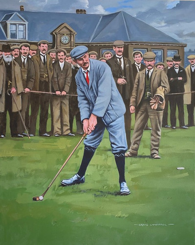 Harry Vardon,  Open Champion at Prestwick GC, SCOTLAND in 1903. An Original Oil on Canvas Painting by Craig Campbell