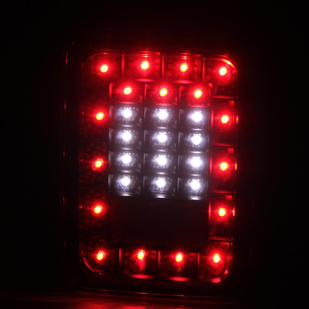 Anzo USA Black LED Taillights Lit Up for Wrangler JK