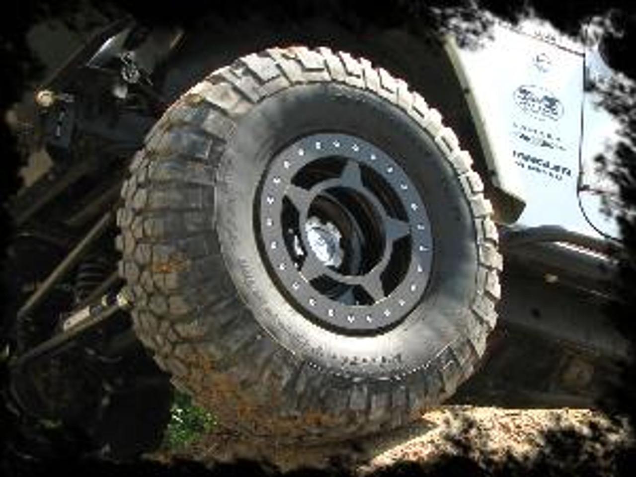 "Spyderlock 17x9.5""  Wheel Mounted on Jeep Wrangler"