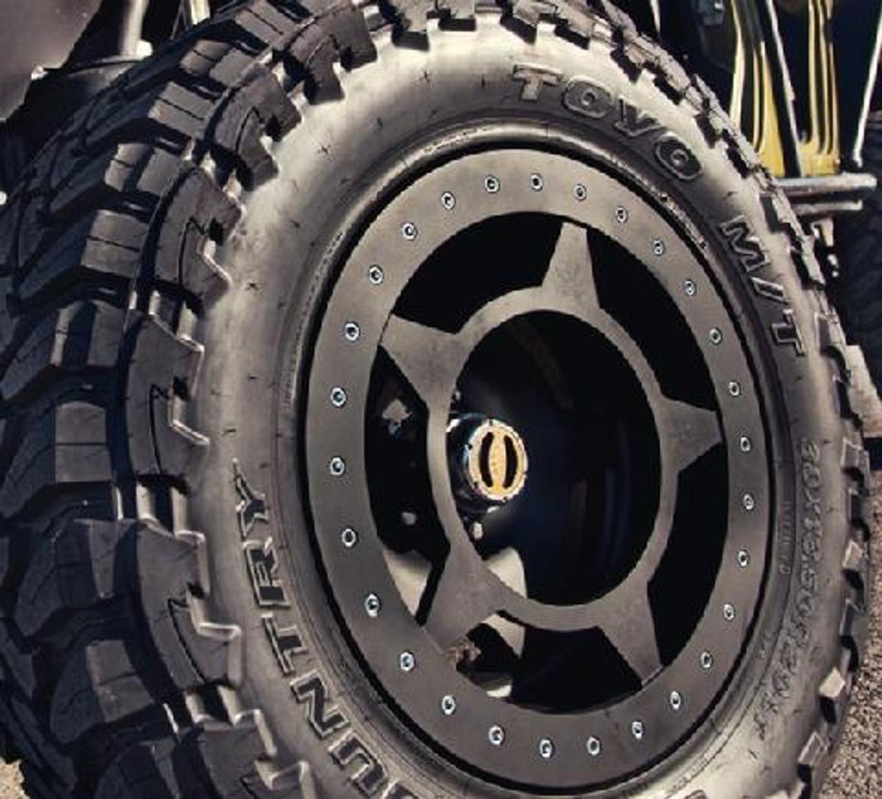 "Close Up of Spyderlock Wheel 17x9.5"" Wheel Mounted"