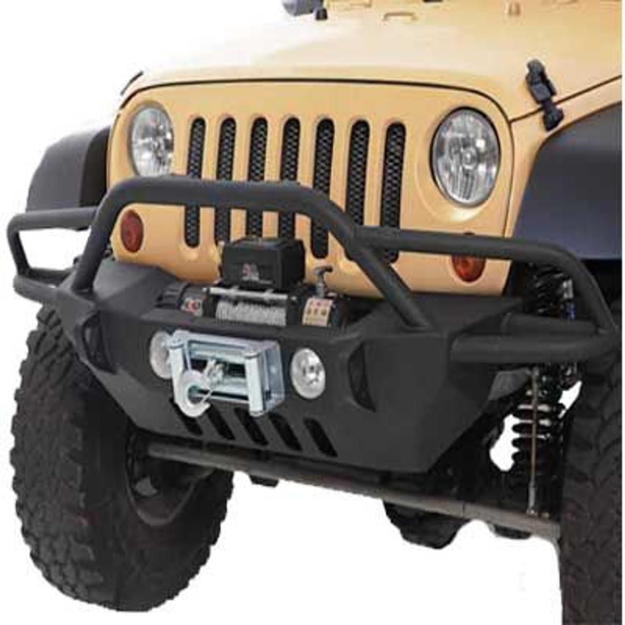 Smittybilt SRC Gen 2 Front Winch Bumper Mounted on Jeep JK