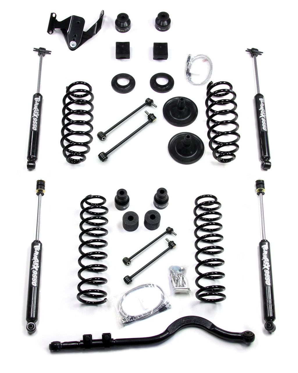 "TeraFlex 1251400 4"" Lift Kit with 9550 Shocks and Trackbar for Jeep Wrangler JK 4 Door 2007-2016"
