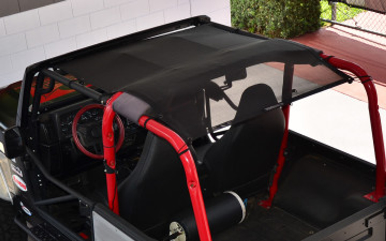 SpiderWebShade Mesh Top Mounted on Jeep TJ