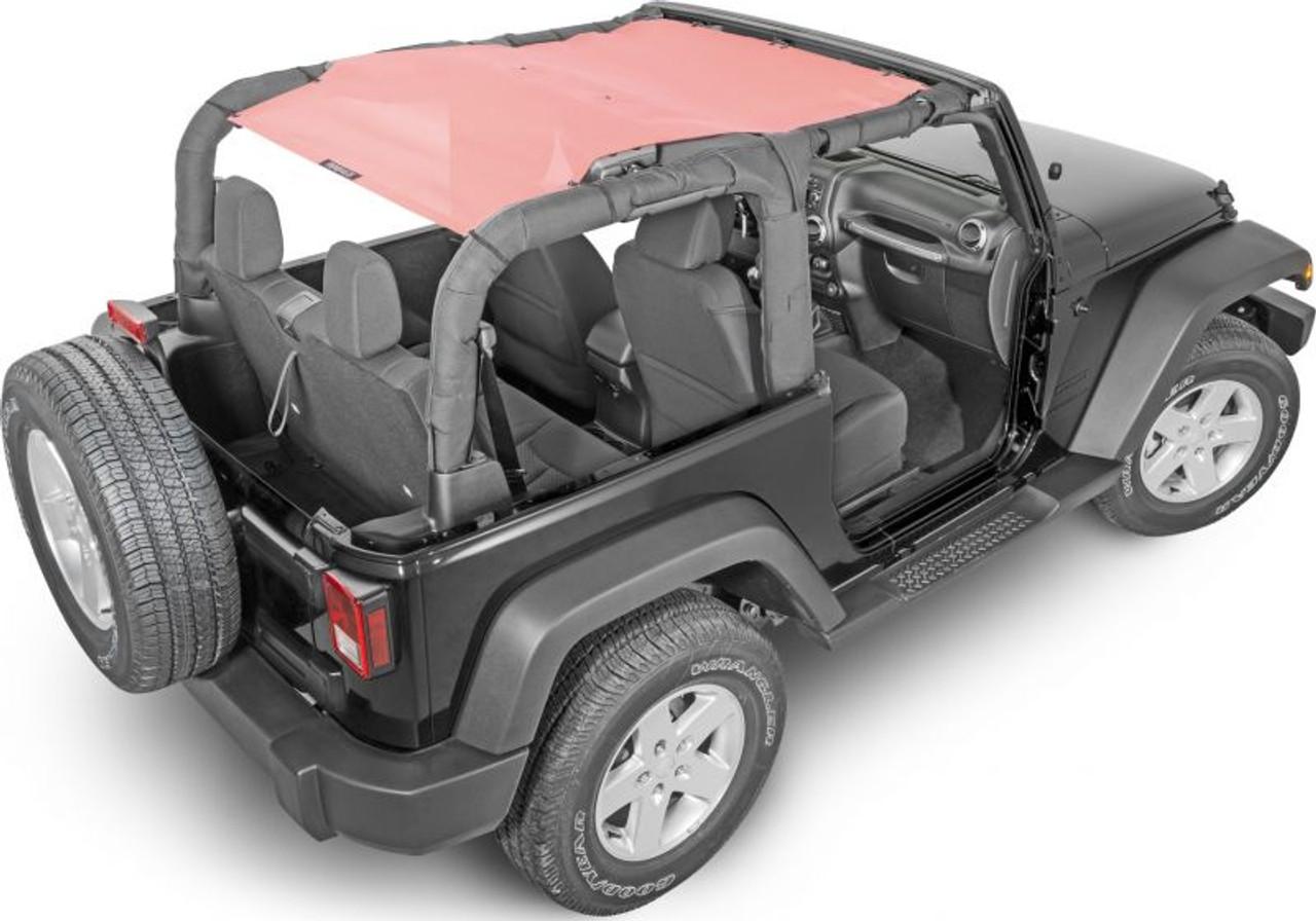 SpiderWebShade Mesh Top Mounted on Jeep Wrangler JK 2 Door