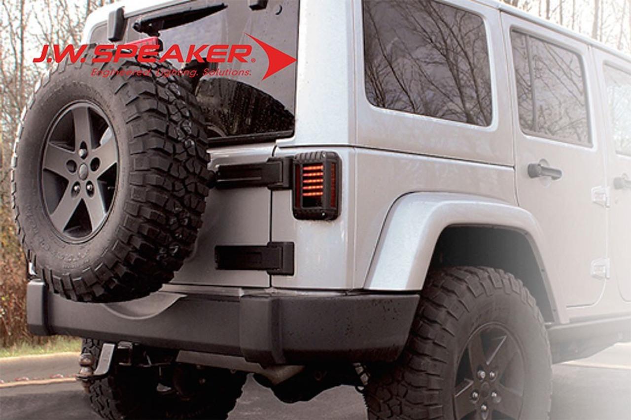 JW Speaker Model 279 Series LED Tail Light Illuminated on Jeep JK