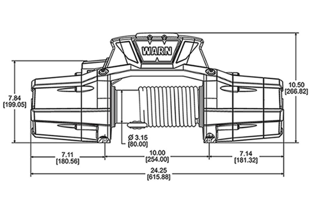 Dimension Chart of WARN ZEON 10-S Platinum Winch