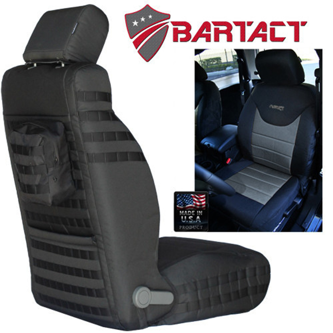 Bartact MSSCJK1316ACF Front Pair Air Bag Compliant Mil-Spec Seat Covers for Jeep Wrangler JK 2013-2016