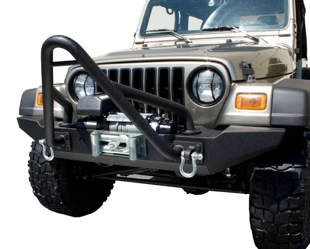 Rugged Ridge Modular XHD Front Bumper Stinger Hoop Mounted on Jeep Wrangler