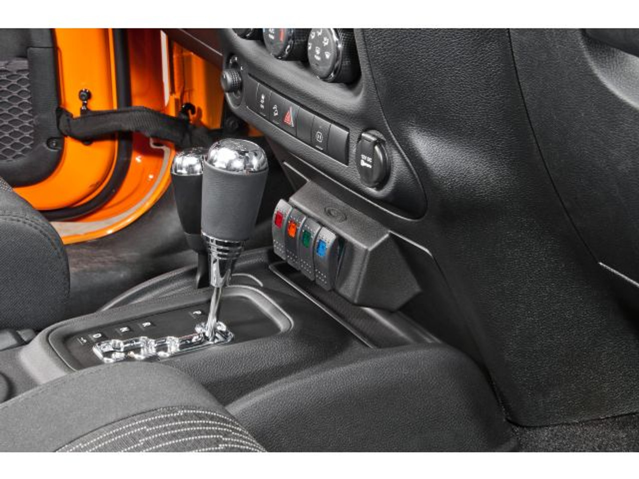 Dayster Lower Dash Switch Panel with Switches Mounted in Jeep Wrangler JK