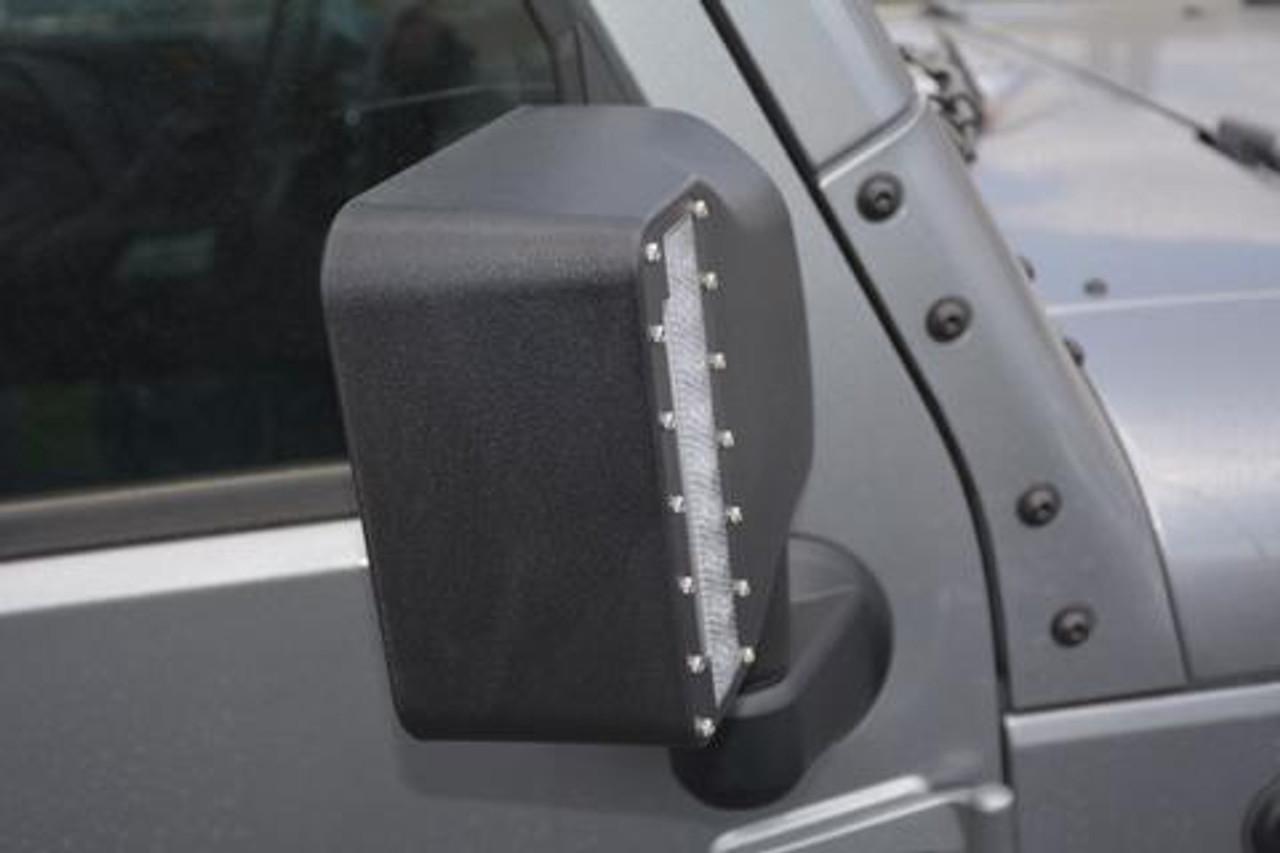 DV8 Offroad LED Mirror Housing Mounted on Jeep Wrangler JK