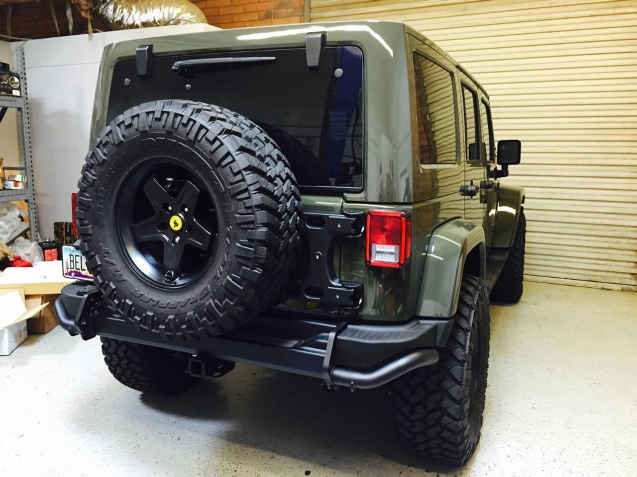 TeraFlex HD Hinged Spare Tire Carrier Mounted on Jeep Wrangler JK