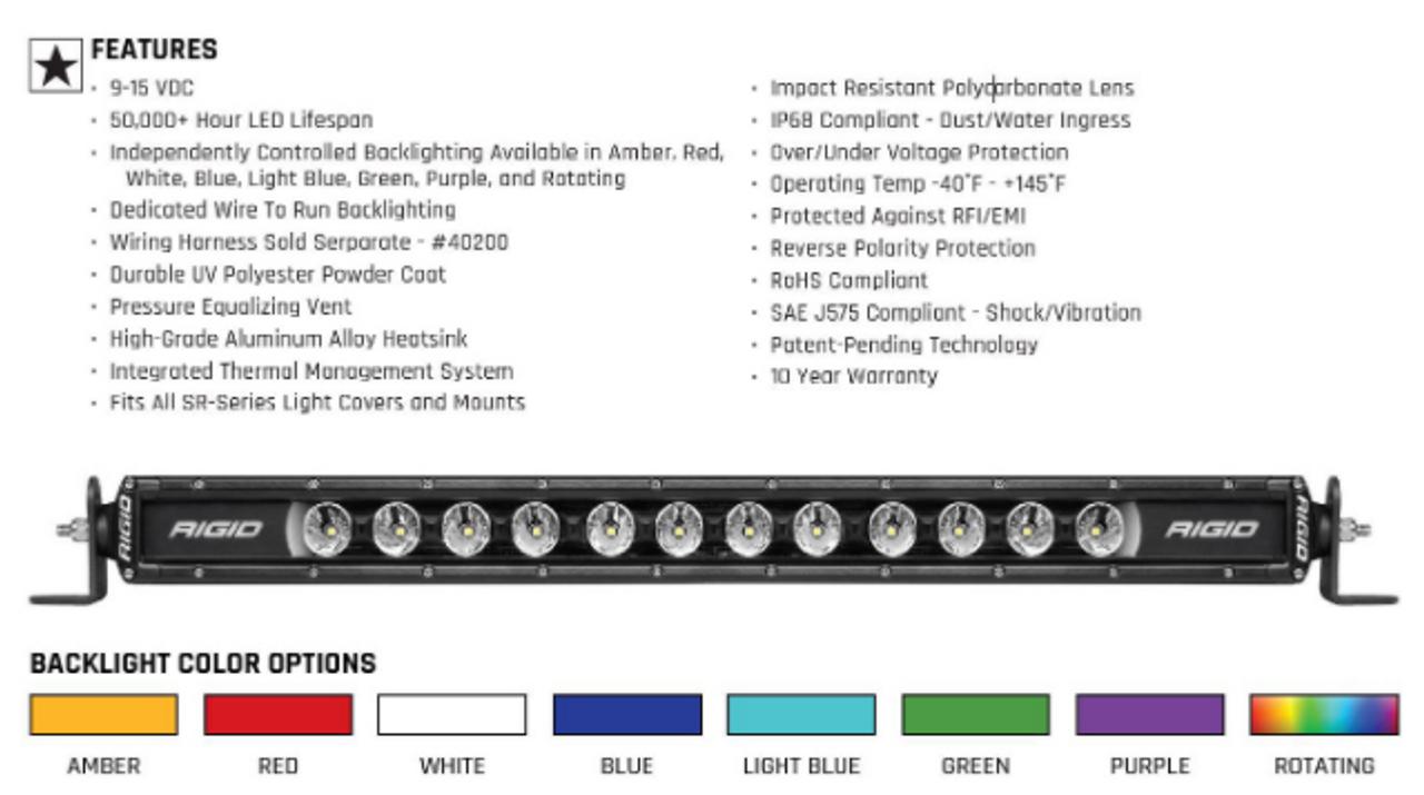 """Rigid Industries 210603 Radiance Plus SR-Series 8 Option 10"""" LED Light Bar"""