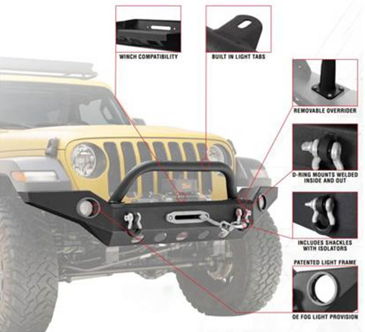 Paramount Automotive 51-8061 Full Width Front Bumper with Fogs & D-Rings for Jeep Wrangler JL & Gladiator JT 2018+