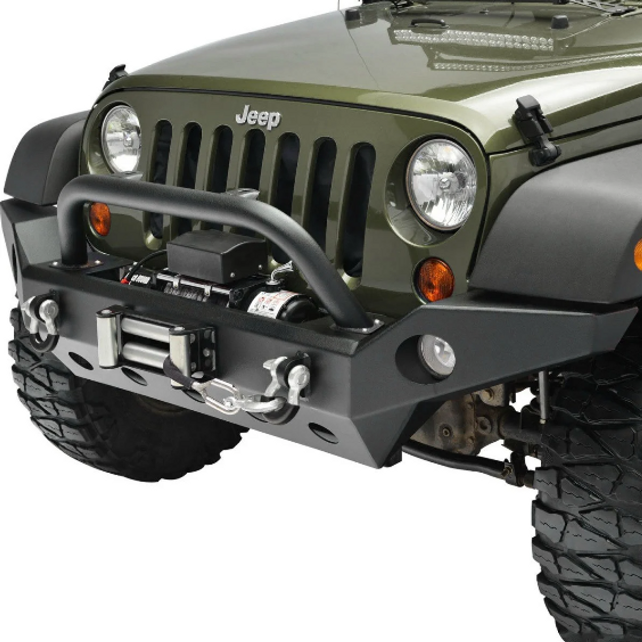 Paramount Automotive 51-0362 Full Width Front Bumper with Fog Housings & D-Rings for Jeep Wrangler JK 2007-2018