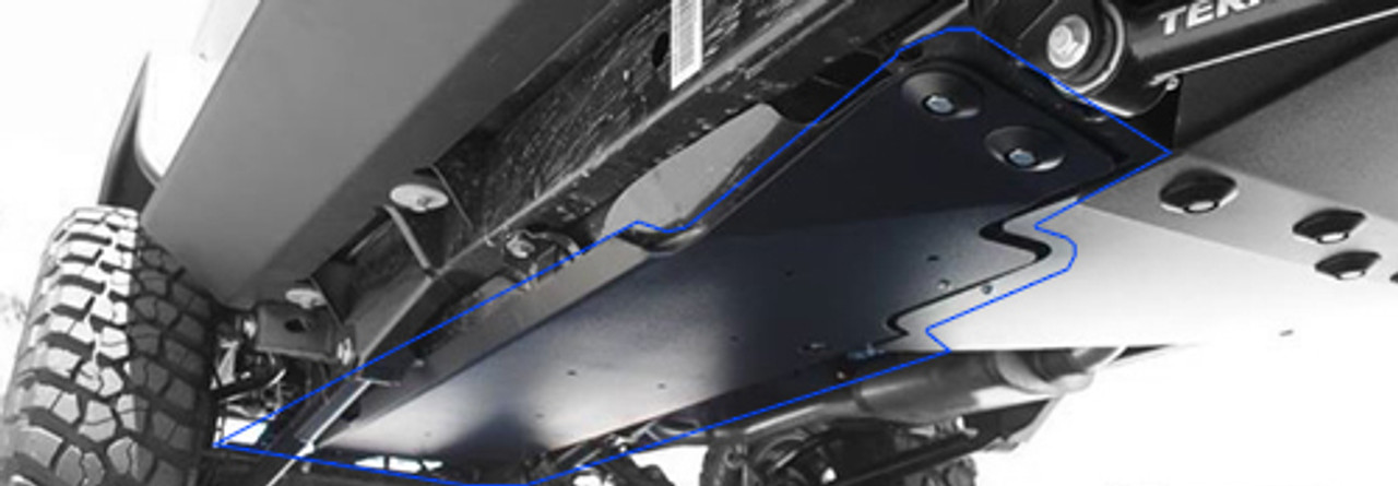 Rock Hard 4x4 Fuel Tank Skid Mounted on Jeep JK