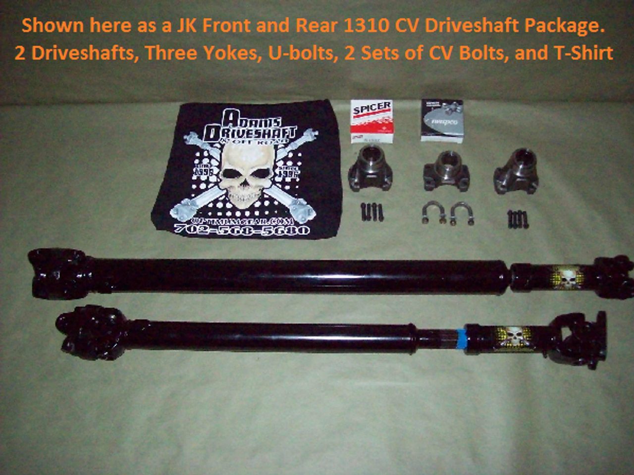 Adams Driveshaft AD-JK-F/R-Driveshaft PKG 1310 1310 Front & Rear CV Driveshaft Package for Wrangler JK 2007+