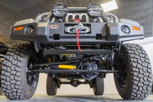 """Old Man Emu 4"""" Suspension System Front End View on Jeep Wrangler JK"""
