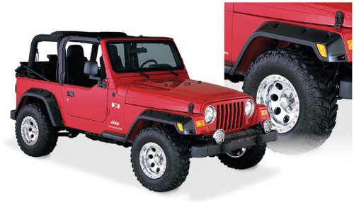 "Bushwacker 4 3/4"" Pocket Style Fender Flares Mounted on Jeep Wrangler TJ"